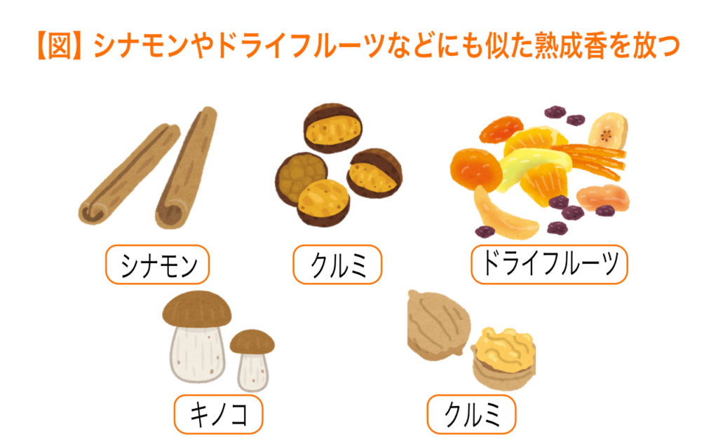 シナモンやドライフルーツなどにも似た熟成香を放つ